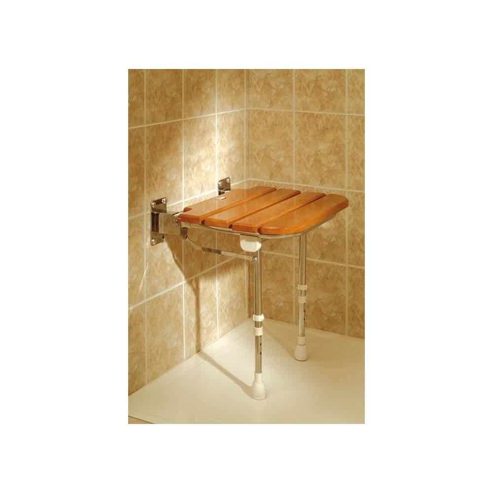 Asiento de ducha abatible de madera ad529 - Duchas de madera ...