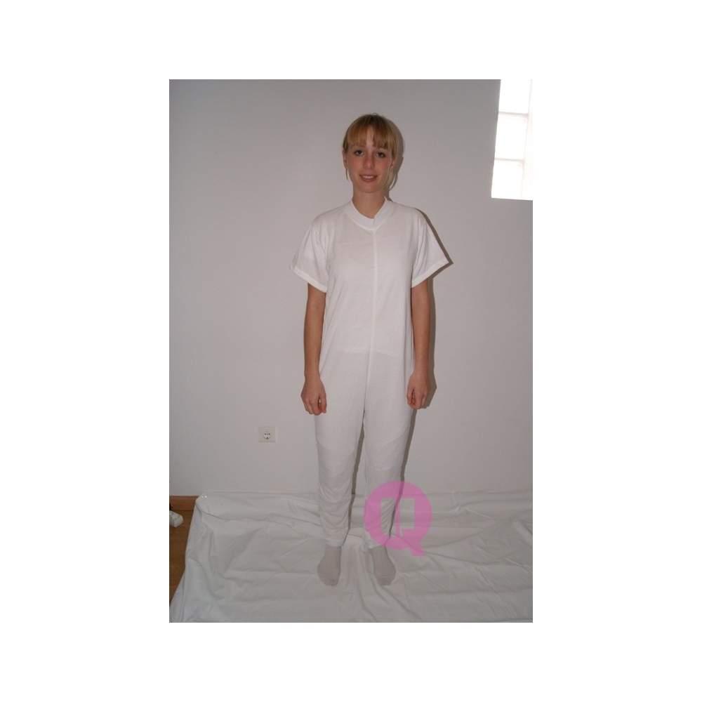 Pyjamas antipañal long / short blanc de douille Tailles S - M - L - XL - XXL