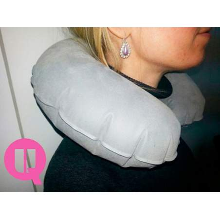 Horseshoe travel pillow INFLATABLE COLLAR GRAY