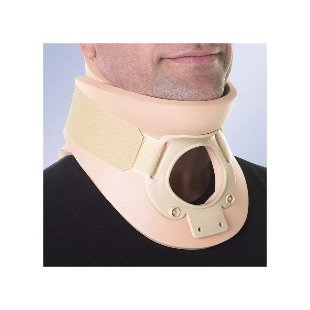 Plastazote collar Philadelphia (8.3 cm) - Orthotics composed of two leaflets, front and back, made plastazote rigid thermoplastic reinforcements and side locks with Velcro strips.