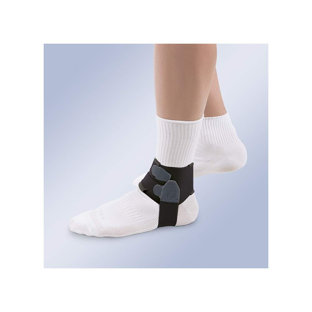 Orthoses for treating plantar fasciitis - Orthotics designed for the treatment of plantar fasciitis, consisting of an anatomical velor band that closes over the upper ankle