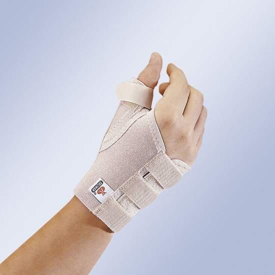 Muñequera con soporte de pulgar - Muñequera con férula de pulgar extraíble y moldeable, de tejido elástico suave y cierre velcro.