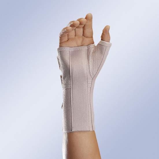 Muñequera ferula con soporte de pulgar - Muñequera férula larga con soporte de pulgar, material elástico y suave, pletina extraíble y moldeable con apoyo semiesférico palmar y pletina de pulgar.