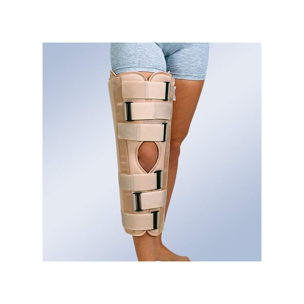 Ortesis inmovilizadora de rodilla ( 40 cms.) - Inmovilizador de rodilla con tejido de velour exterior y rizo de algodón interior con pletinas laterales y posteriores conformables.