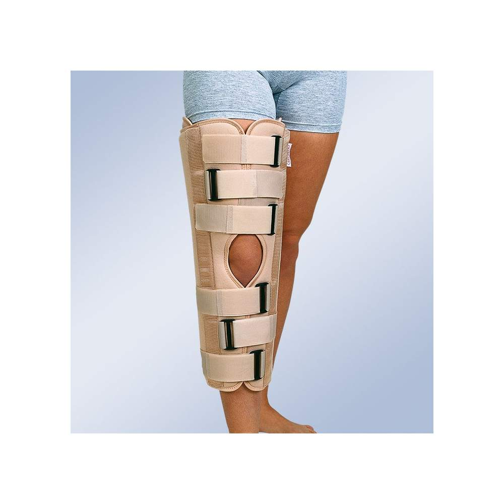 Orthotic knee immobilizer (40 cms.) - Knee immobilizer outer velor fabric and cotton terry inner side and rear plates conformable.