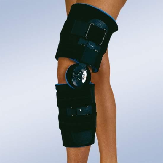 Flexion du genou post-chirurgicale Brace et l'extension courte - Genouillère composé de deux mousse corselets deux sangles velcro et deux joints réglables polycentriques 0-15-30-60 et 90 pour limiter la flexion et l'extension.