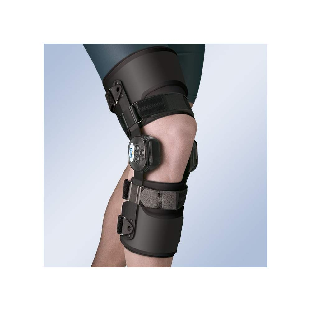 Knee brace Active - Knee brace provided with polycentric joints dual axis control system flexion and extension and protective cap. Hemivalvas thigh and calf flexible thermoplastic interior padding.