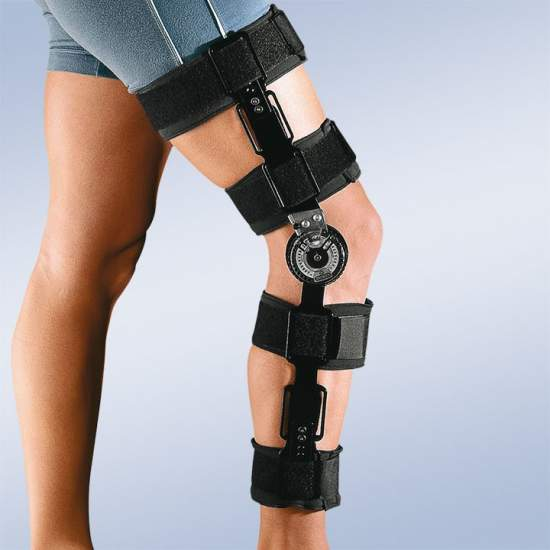 Knee brace with lock - Monocentric knee brace consists of two straps and cut-velor foam, with locking in 0 ° extension
