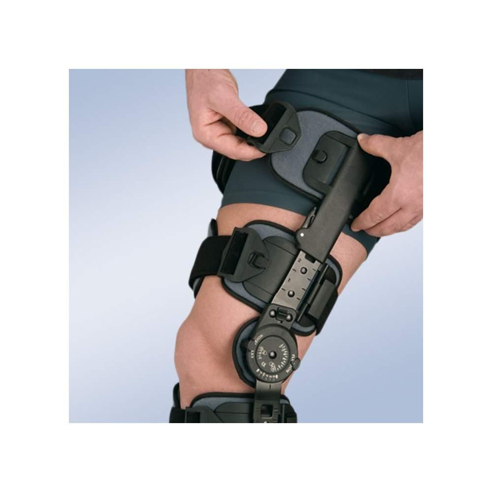 Ortesis de rodilla con bloqueo (2 bandas estrechas, 4 cinchas) - Ortesis de rodilla con articulación monocéntrica. Sistema de bloqueo de –10º a + 30º.