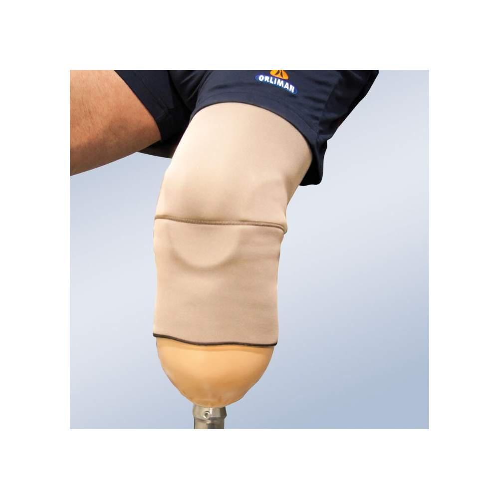 Suspension system for tibial prosthesis.