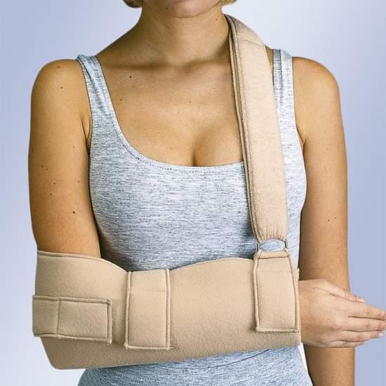 Cabestrillo inmovilizador de hombro (velour) - Cabestrillo fabricado en velour con rizo de algodón interno en forma de bolsa para el antebrazo y cierre velcro.