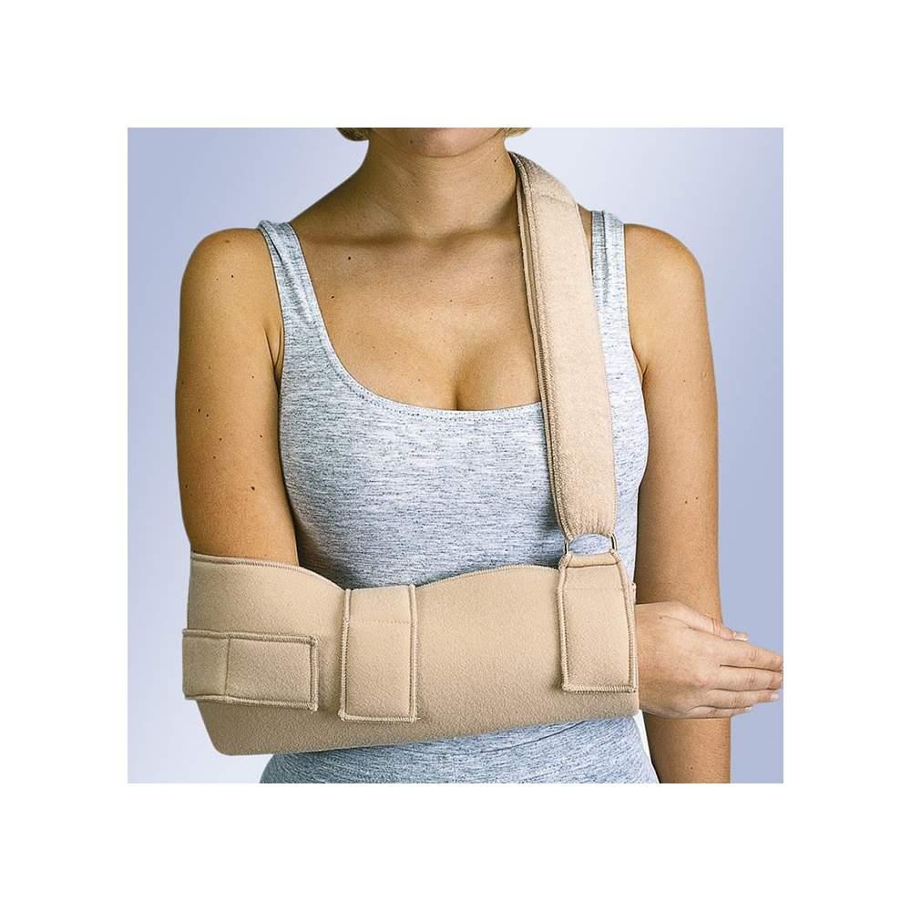 Child-shoulder immobilizer sling (velor) - I sling made of velor terry cotton inner bag shaped forearm and Velcro.