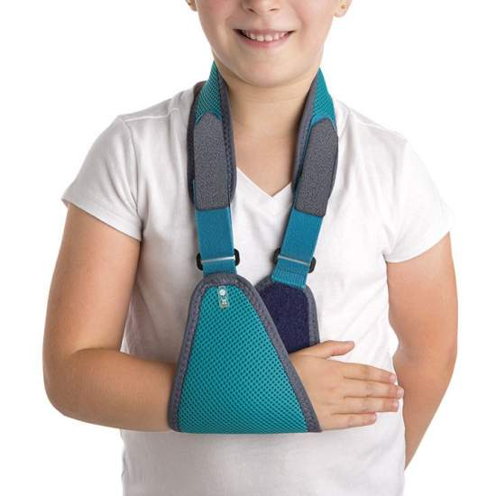 Pediatric Sling band - It consists of a forearm support attached to a strap that goes through the back of the neck.