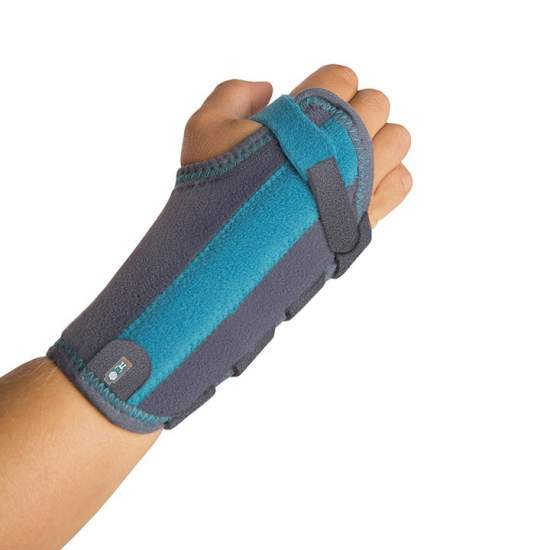 Wrist immobilizer - Wrist splint pediatric drawn up on the inside with honeycomb and outside with felt, breathable. It includes a malleable aluminum palmar splint that immobilizes the wrist joint