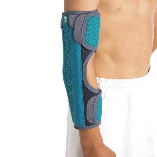 Elbow immobilizer without bending - Immobilizer pediatric elbow made on the inside and outside terry and velor honeycomb, breathable, rigid rear and side plates aluminum, closed with a simple system of microgancho.