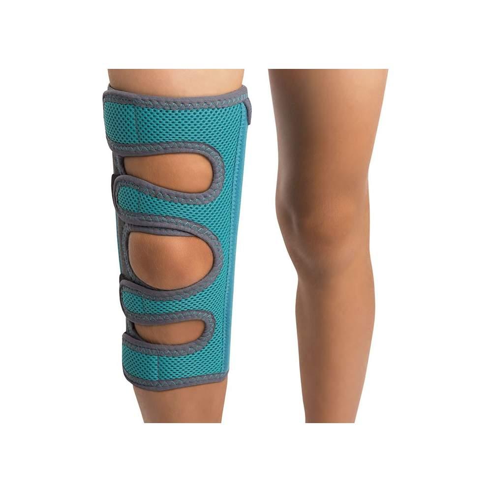 Inmovilizador de Rodilla - La ortesis inmovilizadora de rodilla pediátrica está fabricada en su parte interior de rizo y en la exterior de panal transpirable.