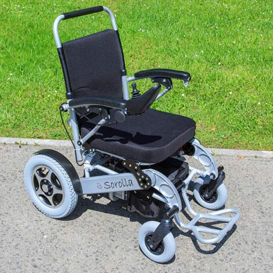 Folding electric chair Sorolla 315 - Sorolla electric chair Superlight aluminum wheels with 315mm, lithium battery and foldable for easy transport and introduction in vehicles.