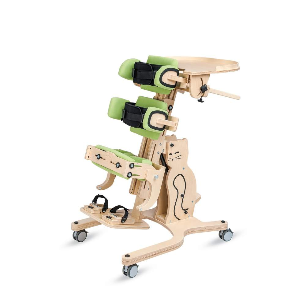 Cat 2 Children Bipestador - Cat 2 allows standing and the prone or supine. Certainly, any of its positions are very beneficial for the development of children.