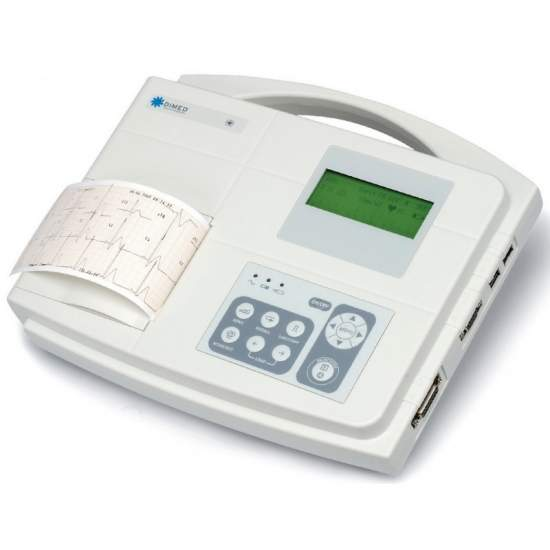 1/3 kanaals elektrocardiograaf met interpretatie van de diagnose.