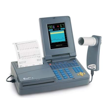Color spirometer alphanumeric keyboard and printer