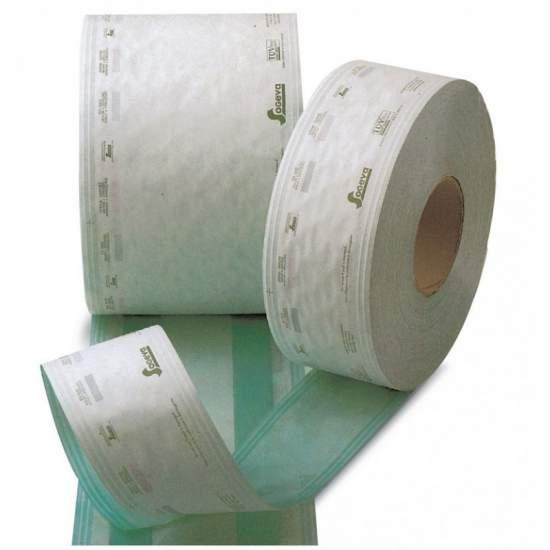 Platte rol medisch papier voor sterilisatie met stoom of gas - 20 cm x 100 m