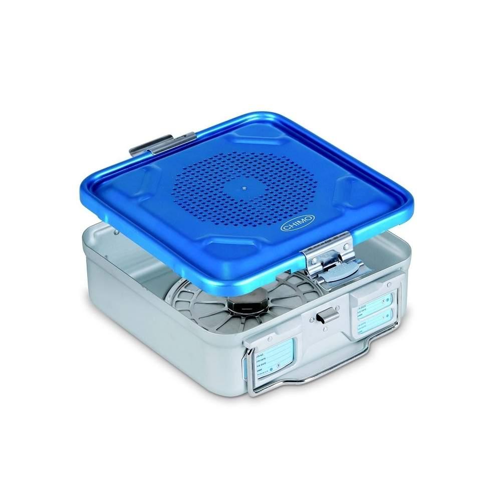 Contenitore di sterilizzazione con coperchio forato in alluminio anodizzato 28,5 x 28 x 10 cm.