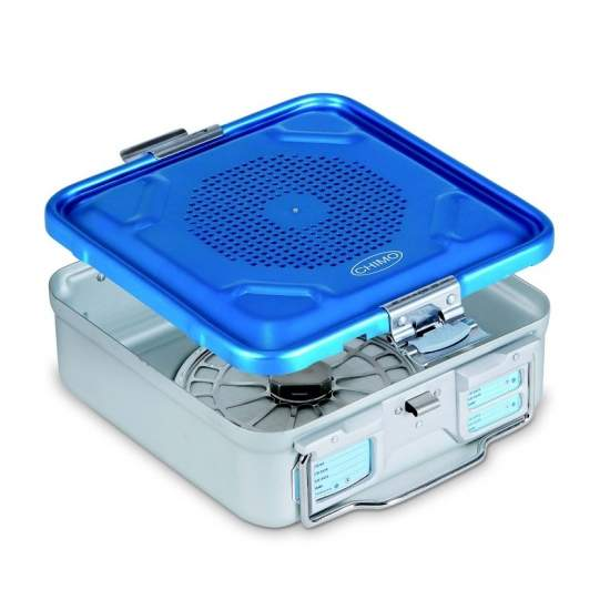 Sterilization container with perforated lid anodized aluminum 28.5 x 28 x 13.5 cm. - Sterilization container with perforated lid anodized aluminum 28.5 x 28 x 13.5 cm.