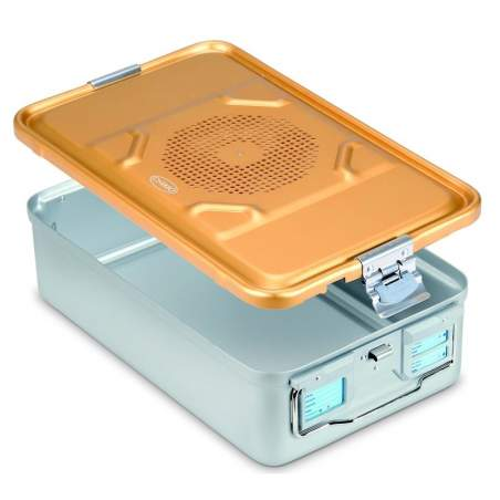 Contenitore di sterilizzazione con coperchio forato in alluminio anodizzato 58 x 28 x 13,5 cm