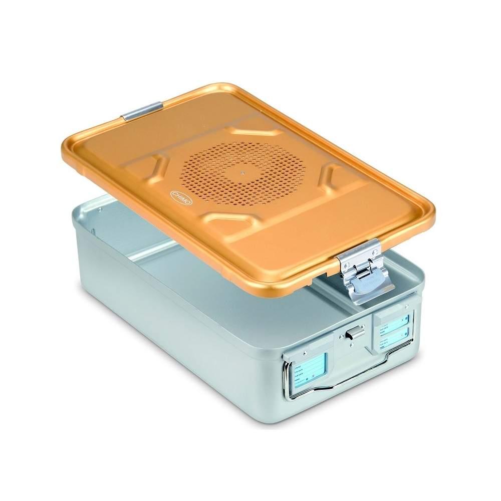 Contenitore di sterilizzazione con coperchio forato in alluminio anodizzato 58 x 28 x 15 cm