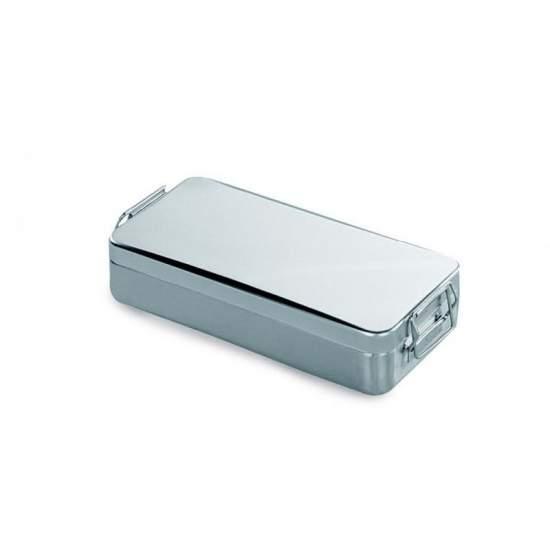 Container tampa c / alça e fechadura. Ac / ester.instrum 18/10. 180 x 80 x 40 (h) mm