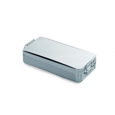 Container tampa c / alça e fechadura. Ac / ester.instrum 18/10. 300 x 125 x 60 (h) mm