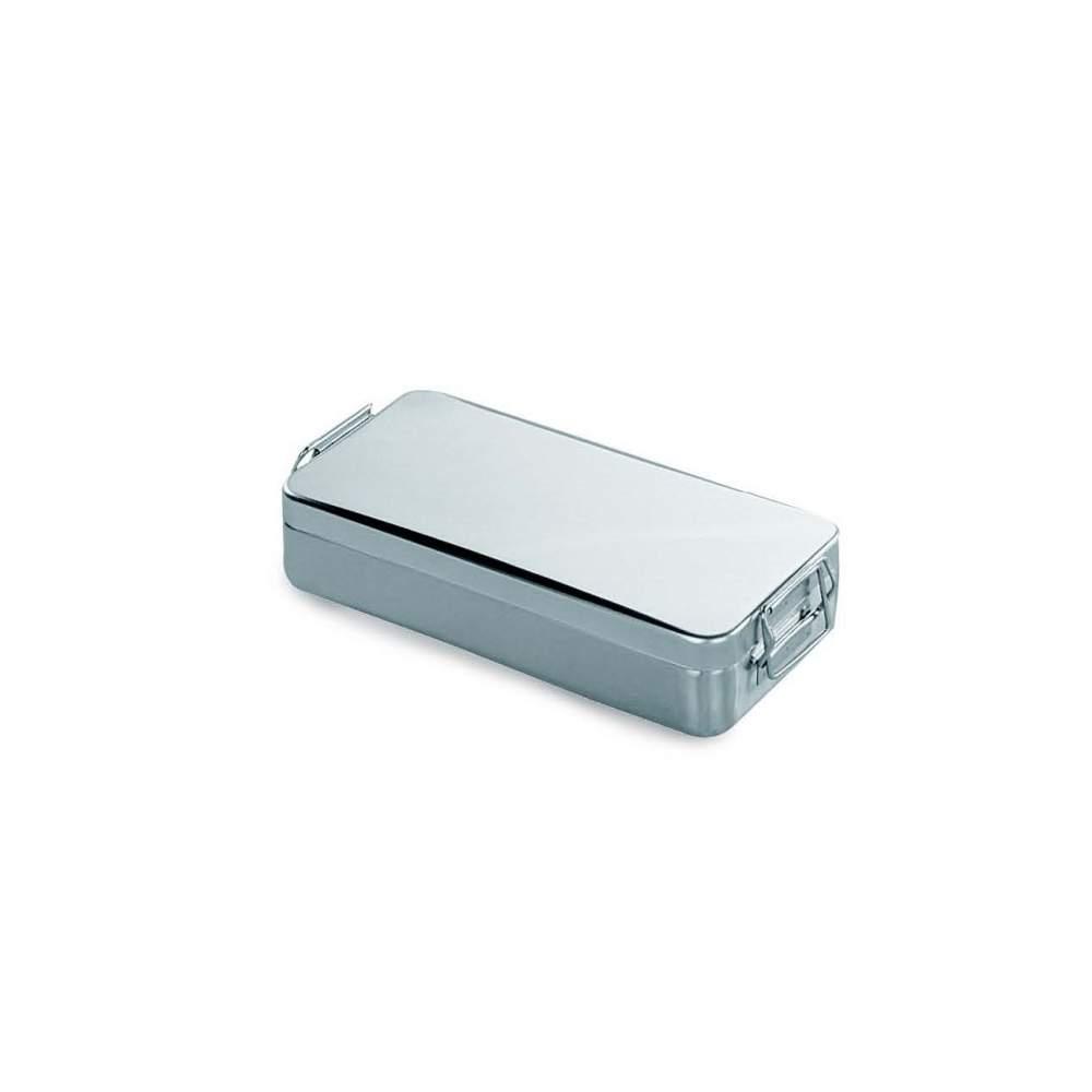 Container tampa c / alça e fechadura. Ac / ester.instrum 18/10. 320 x 150 x 60 (h) mm