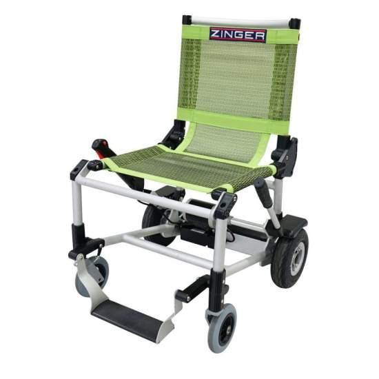 Zinger en fauteuil roulant - Fauteuil roulant électrique Zinger vert Un fauteuil roulant électrique pliant et très polyvalent