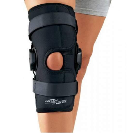 Rodillera Drytex Deluxe Hinged Knee Wrap abierta - • Inestabilidades • La versión abierta, wrap, especialmente indicada: muy cómoda para adaptación en pacientes que se encuentran durante un proceso inflamatorio aquellos quepuedan tener gran desproporción de muslo a pantoriilla.