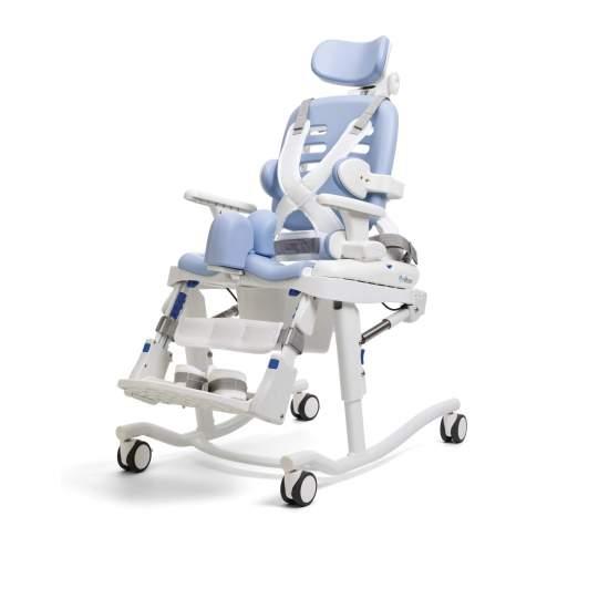 Silla de baño HTS de Rifton - Modelo pequeño. HTS sistema de higiene es una unidad de asiento multifuncional, es ajustable y cuenta con una amplia gama de accesorios para conseguir el posicionamiento que necesita cada usuario.