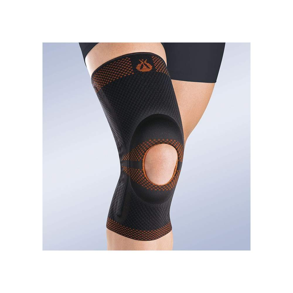 BREATHABLE ELASTIC KNEE SUPPORT WITH SILICONE HEAD OPEN IMPELLER AND SIDE STABILIZERS 9105
