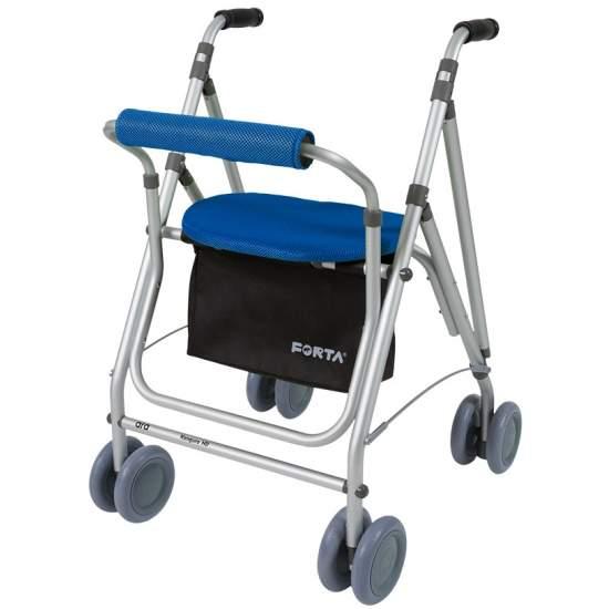 Andador Kanguro HD  - El andador Kanguro HD similar al Kanguro, cuenta con cesta, freno por presión, respaldo y asiento acolchados... Pero cuenta con ruedas traseras dobles de 150mm lo que le proporciona mayor estabilidad.