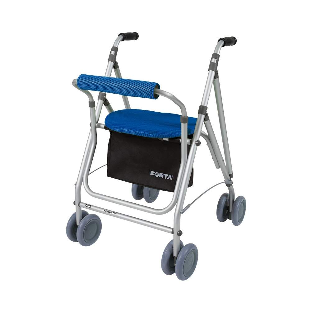 Andador Kanguro HD -  HD Kanguro walker similar to Kanguro, has basket, brake pressure, back and padded seat ... but has dual rear wheels 150mm providing greater stability.