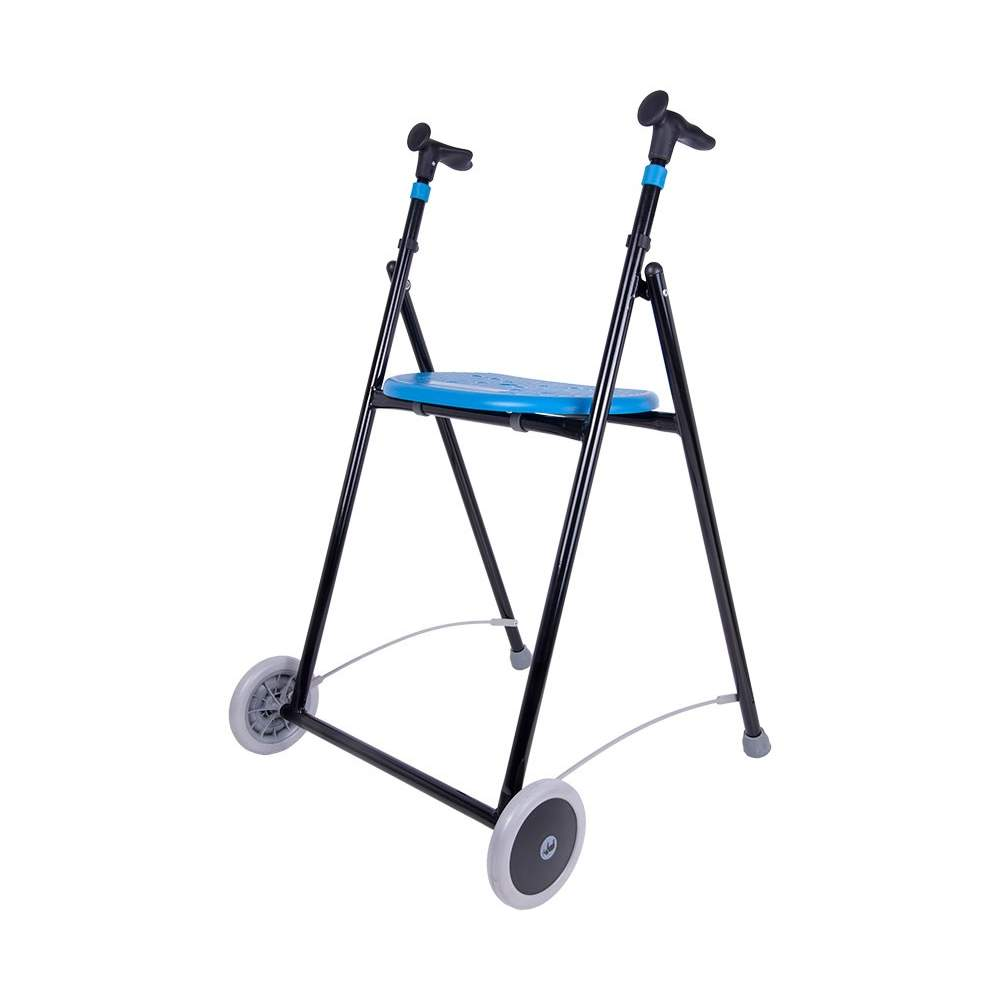 Air walker with seat-On -  The AIR-On walker is similar to the AIR-On Zero but has seat and plastic plate. Like the Zero is available in seven colors, foldable and iron.