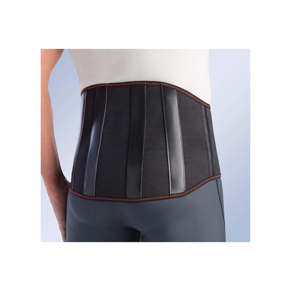 FAJA MOTORISTA CEN-410 - Lumbosacral corset with a strong combination of stretch cotton and four rigid steel boned earlier post and velcro closure.
