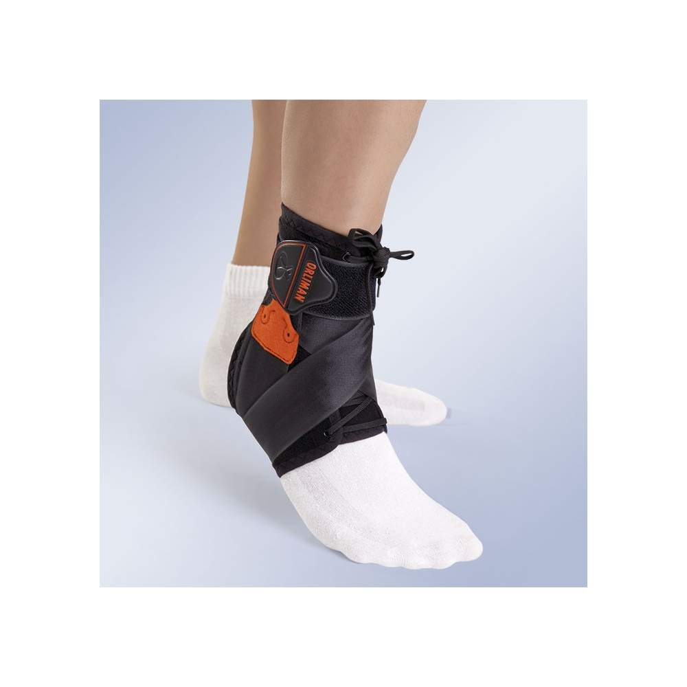 STABILIZING ANKLE LACE TOBIPLUS -  Orthotic ankle stabilizer made in velor fabric high strength foam liner (POROMAX®) and antibacterial treatment (THERMYTEX), breathable, provided with medial and lateral...