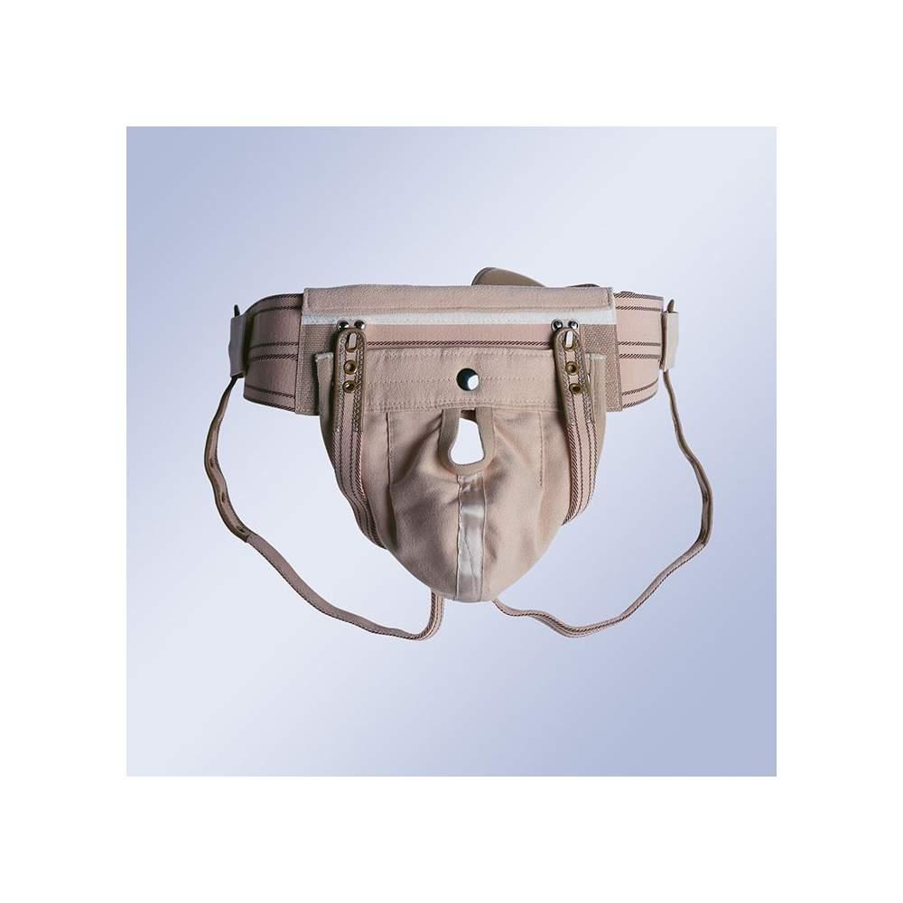 BRAGUERO SUSPENSORIO - Braguero con cinturón elástico doble, tirantes bajo glúteos con cierre trasero y bolsa escrotal intercambiable