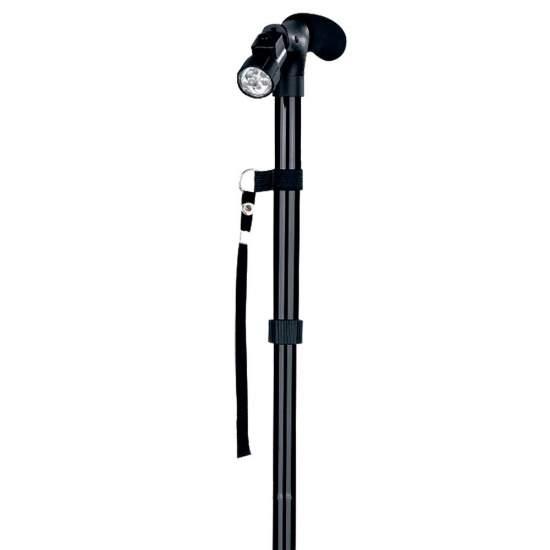 Bastón de apoyo con luz - Bastón de apoyo de aluminio plegable, regulable en altura, con una contera articulada y una luz led en la empuñadura.