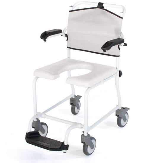 Silla de ducha y WC Levina - Silla de ducha fabricada en aluminio, resistente y totalmente inoxidable.