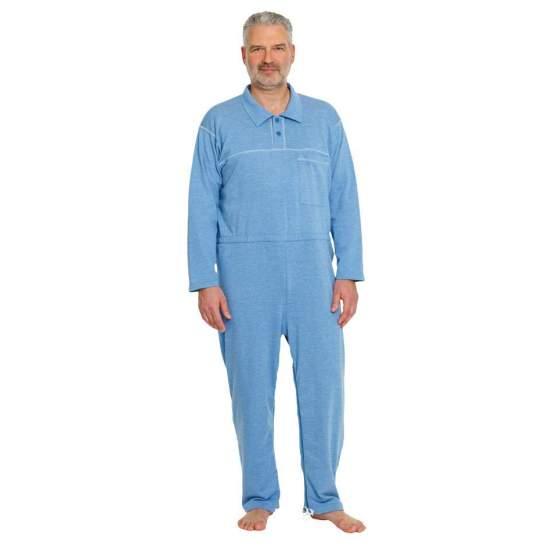 Pijama casero para incontinencia Azul Jeans  - Pijama de fácil acceso a los productos para incontinencia.