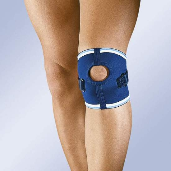 Patellar Neoprene knee brace with Velcro strap opening -  Knee 4.5mm neoprene with velcro strap infrapatelar and patellar opening.