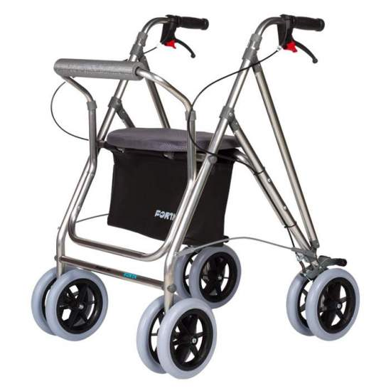Andador Kanguro Plus - The walker Kanguro plus is the most complete range of Forta. As accessories included is a basket, a seat and brake handles. Its four wheels are 200 mm, allowing great mobility. Like the rest of walkers, the Kanguro Plus is foldable.