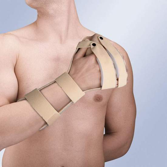 HAND SPLINT immobilizing Antispastic TP-6102 -  Made of thermoplastic with absorbent inner lining to prevent sweating and increase comfort curl, allows molding by air gun. It incorporates fastening straps wrist and forearm with thumb pin and velor.