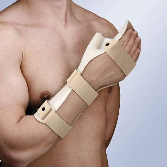 FLOOR IMMOBILIZER HAND IN FUNCTIONAL POSITION TP-6101 -  Made of thermoplastic, and inner lining absorbent curl, to prevent sweating. It incorporates 3 straps in velor with security pin on the wrist and forearm, closing system in micro-hook. It allows the molding by means of a hot air gun.