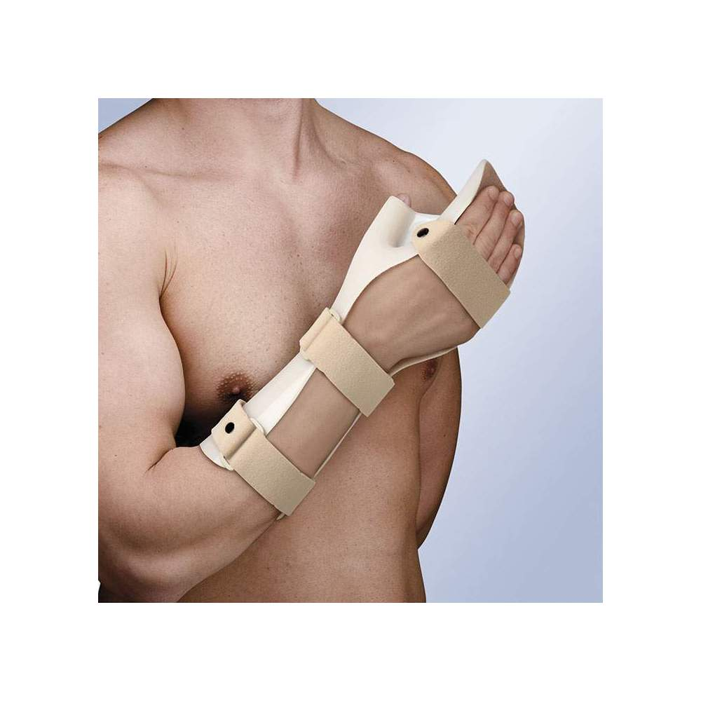 FLOOR IMMOBILIZER HAND IN FUNCTIONAL POSITION TP-6101 -  Made of thermoplastic, and inner lining absorbent curl, to prevent sweating. It incorporates 3 straps in velor with security pin on the wrist and forearm, closing system in...